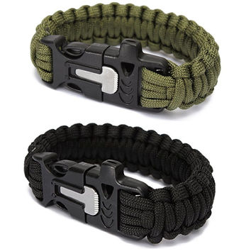 Outdoor Sports Men's Survival Paracord Bracelets Parachute Cord Wristband Emergency Rope Flint Fire Starter Whistle Buckle Kits