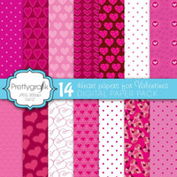 14 valentine heart digital paper pack, commercial use, scrapbook papers, instant download - PGPSPK591