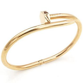 Stylish hexagonal nail rose gold bracelet