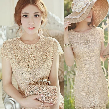 Women Scallop Hem Floral Crochet Lace Shell Pearl Dress Bridesmaid Gown Top D_L = 1713090820
