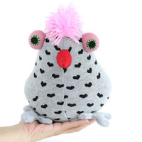 Cheerful birds  bird toy Grey  birds Nursery decor Stuffed Baby bird  toy  Soft baby gift Playful birds with pink  feather  Red mouth
