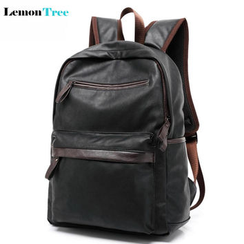 2016 New Arrival Oil Wax Leather Backpack Casual Bags Travel Shoulder Bag For Men Western College Style School Rucksack 56ZS