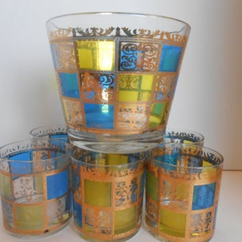 Mid Century Culver Ice Bucket and Glasses Vintage Cocktail Set