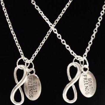 2 Necklaces Infinity Sister Best Friends BFF Forever Set