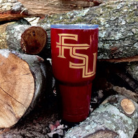 Florida State University, FSU Seminoles, Custom Powder Coated RTIC Tumbler 30oz with 2 Precision Cut Vinyl Decals