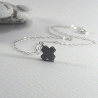 Tiny Cross Necklace, 925 Sterling Silver, Hematite Cross Pendant, Minimal Necklace, Dainty Thin Chain, Delicate Jewelry, Christian Necklace
