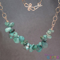 "Turquoise on large hammered circles, 18"" Necklace Gold Or Silver"