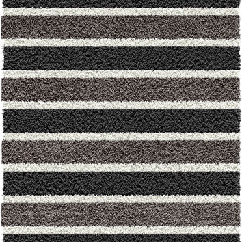 Michael Anthony Furniture Baywater Collection Silver/Black Striped Machine-Made Polypropylene Area Rug (5 x 7 x 6)