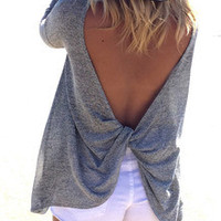 Fall Fashion Grey Long Sleeve Backless Sweater