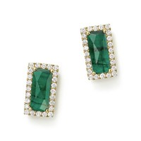 Meira T 14K Yellow Gold Emerald Rectangle Stud Earrings with Diamonds | Bloomingdales's