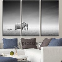 Large Wall Canvas ART Zebra and Elephant Photo on Canvas Print + Ready to Hang + Great Gift