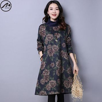 MIWIMD Big Size Women's Autumn Winter Dresses 2017 New Fashion Casual Loose Printing Long Sleeves Turtleneck Cotton Linen Dress