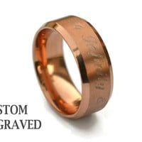 Rose Gold Plated Engraved Steel Ring - Personalized Steel Ring -Stainless Steel Women Custom Ring - Custom Engraved Rose Ring