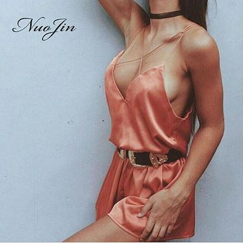 Nuojin Boho Sexy Deep V Neck Cross Satin Ribbon Women Rompers Backless Chic Playsuit Overalls Jumpsuit Sleepwear Sling Culotte