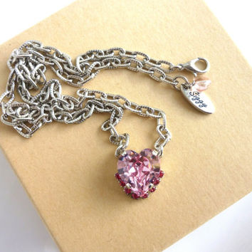 Swarovski crystal fancy heart pendant, Pretty in Pink, large 14x15mm with accent crystals, designer inspired