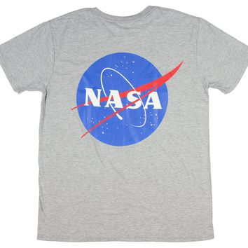 NASA Shirt Men's Front And Back Graphic  Logo Space Agency Retro Tee