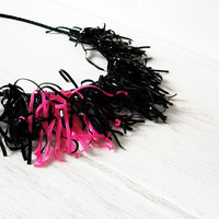 Rubber band necklace - Fringe bib -recycle - reuse