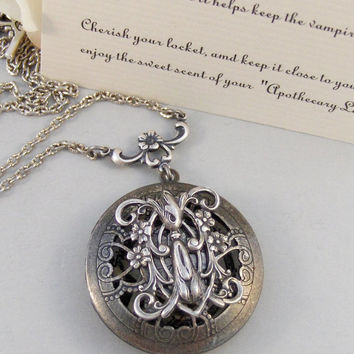 Scented Vervain,Locket,Silver,Apo­thecary,Vervain,Vampire,Tw­ilight,Antique Locket,Jewelry. Handmade jewelry by valleygirldesigns.