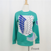 Attack On Titan Green Printing Jumper Pull Over Sweater Free Ship SP141451 from SpreePicky