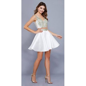 Ivory Beaded Crop Top Two-Piece Homecoming Short Dress V-Neck