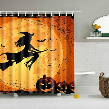 Halloween Pumpkin Light Witch Terror Polyester Shower Curtains High Quality Washable Bath Decor New Colorful Eco-friendly