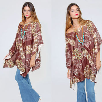 Vintage 70s FLORAL Poncho Festival Tunic Brown Floral Ethnic Boho Cape Hippie Top FREE SIZE