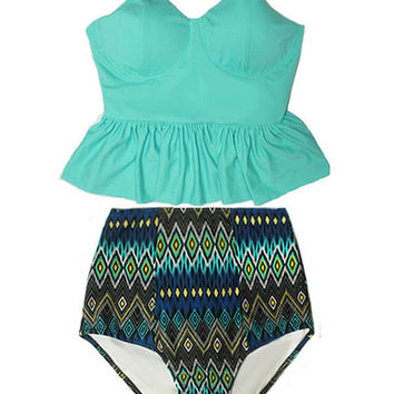 45d35e1eda1d5 Mint Long Peplum Tankini Top and Aztec Tribute High Waisted Waist Swimsuit  Swimwear Swimsuits Bikini Bathing