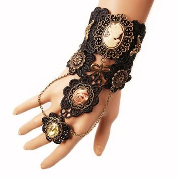 New Arrival Black Lace with Nice Metal Parts Gothic Steampunk Lace Finger Connect Bracelet