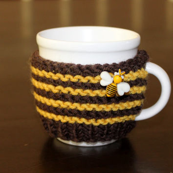 Mug sweater. Espresso cup cozy. Demitasse cup cozy. Coffee mug  cozy. Coffee cup sleeve. Bumble bee travel mug. Gift idea. Christmas gift.