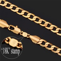 """Necklaces Cuba """"18K"""" Gold Stamp 5MM Party Gift 18K Gold Plated Curb Li"""