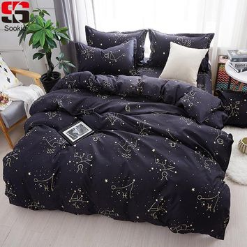 Cool Sookie Zodiac Bedding Set Twin Full Queen King Size 3pcs Bed Linen Constellation Bedclothes Stars Print Duvet Cover SetsAT_93_12