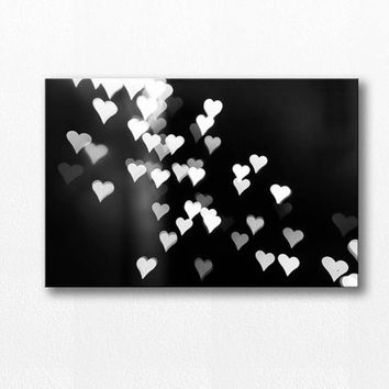 abstract canvas art bokeh photography canvas print hearts canvas 24x36 fine art photography black white canvas wrap modern art gallery wrap