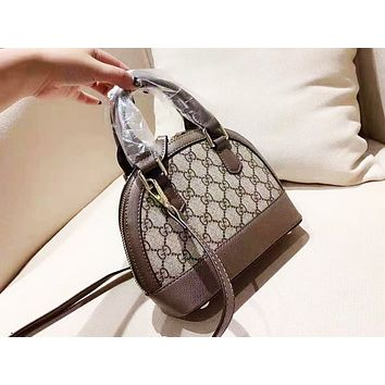 GUCCI fashion hot seller for women with printed patchwork color shell shoulder bag Khaki+Dark Coffee