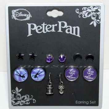 Licensed cool Disney Peter Pan Earrings Never Grow Up 6 Pair Stud & Fish Hook Purple Jewel NEW