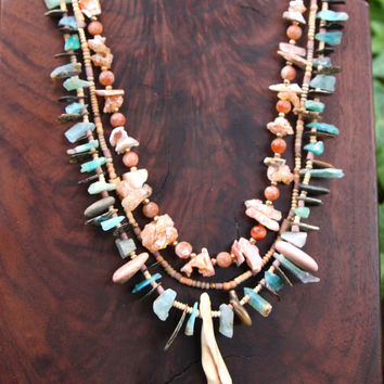 Raw Peruvian Green Opal Chips Necklace with Shell and Abalone Shards, Small Beach Pebbles, and Ceramic Beads Beachy Gemstone Jewelry
