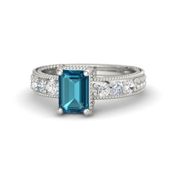 Emerald-Cut London Blue Topaz Platinum Ring with White Sapphire & Diamond