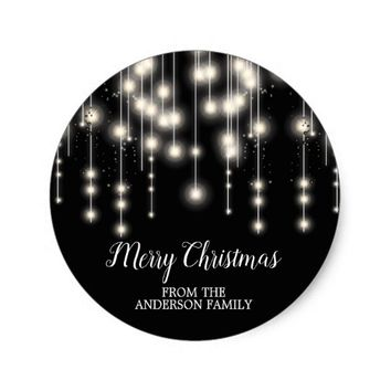 Elegant String Lights Merry Christmas Sticker