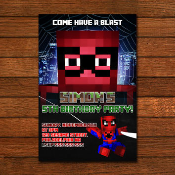 Minecraft Spiderman Inspiration Invitation