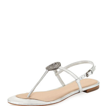Tory Burch Liana Metallic Leather Flat Sandal | Neiman Marcus
