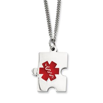 Stainless Steel Puzzle Piece Medical Pendant Necklace