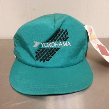 Vintage Dead Stock Green Teal Yokohama Tires Old Stock Sun Spark Snap Back Hat Cap Snapback Hat NWT Brand New Made In USA Dad Hat