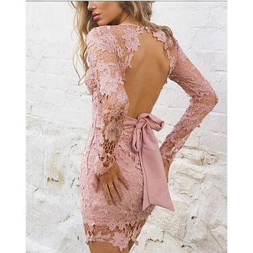 2018 Womens Elegant Wedding Party Sexy Night Club Deep V Neck Long Sleeve Sheath Bodycon Lace Dress Short L327