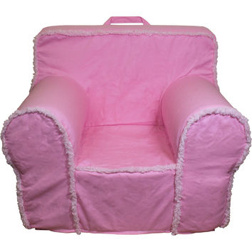 Pink Suede Sherpa Chair Cover for Foam Childrens Chair