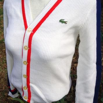 vintage DeADSTOCK Chemise LACOSTE V-Neck Cardigan Sweater white blue red nwt nos