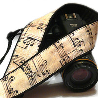 Music Camera Strap. Vintage Notes Camera Strap.  DSLR, SLR Camera Strap. Canon, Nikon Camera Strap. Women Accessories