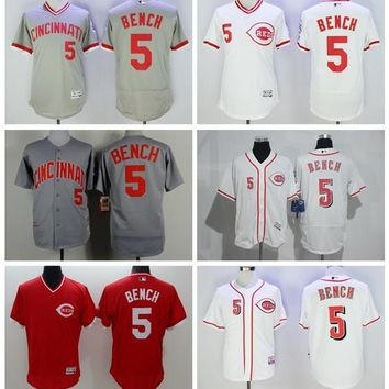 Cincinnati Reds 5 Johnny Bench Jersey Flexbase 1976 Cooperstown Baseball Jerseys Throwback Vintage White Grey Pullover White Red
