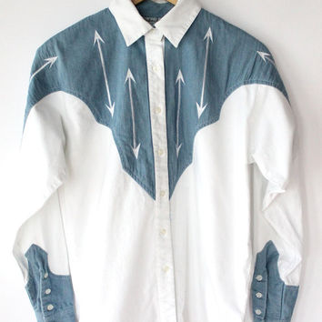 Vintage 90s Denim & White Cotton Arrow Embroidered Western Shirt // Women's S