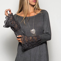 Long Lace Bell Sleeve Acid Washed Top - Charcoal