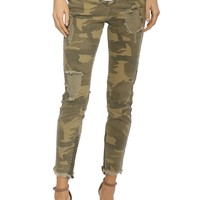 Brooklyn Karma Distressed Camo Lace Up Jeans