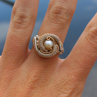 Pearl ring wire wrapped / cocktail wrap / heady statement birthstone silver gold handmade art / grateful dead / natural organic gift jewelry